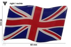 Union Jack 3D Aufkleber rechts (dynamische Flagge) Daytona 750 & 1000