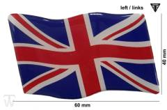 Union Jack 3D Aufkleber links (dynamische Flagge) Tiger 885i (T709)